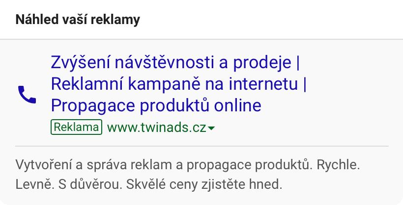 Reklamní kampaně TwinAds na Google Ads